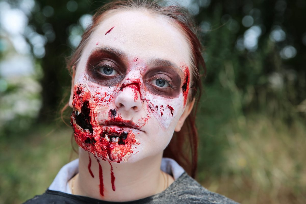 a student with zombie make up